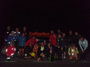 Intrepid adventurers from Saddleworth Runners ready to continue their night run after fuelling up at Coffee Run!